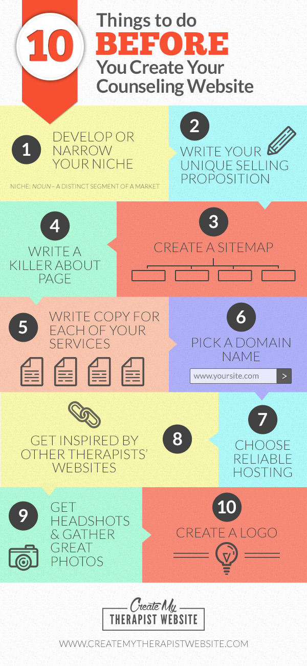 Infographic: 10 Things To Do Before Creating a Counseling Website
