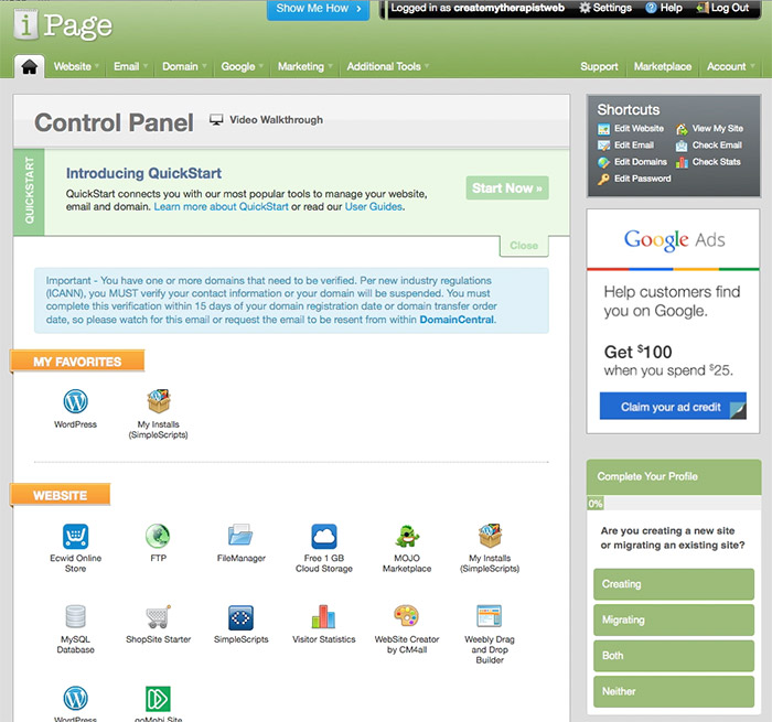 Step 3 - therapy website hosting control panel