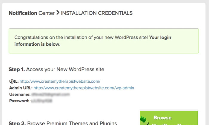 wordpress installation complete! website set up