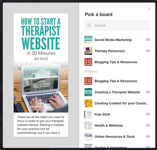 using pinterest to promote your private practice