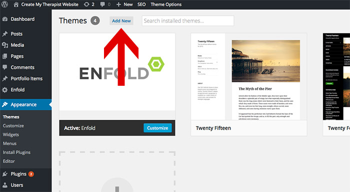 add new wordpress theme for your therapist website