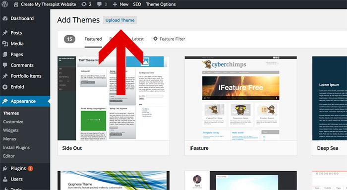 upload wordpress theme to create your therapist website