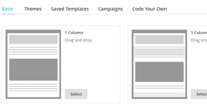 Choose the 1 Column template for auto email