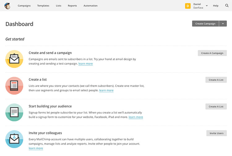 The Mailchimp dashboard, time to create your first list