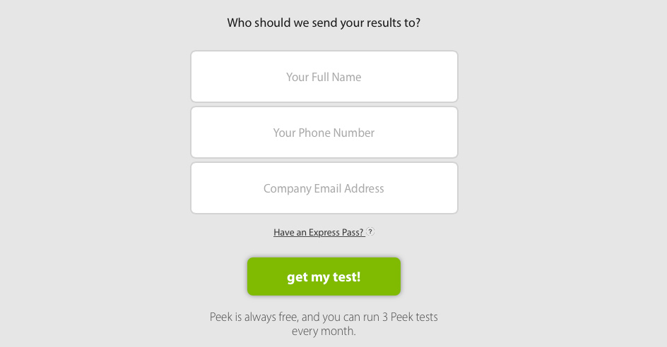 Enter info for User Test