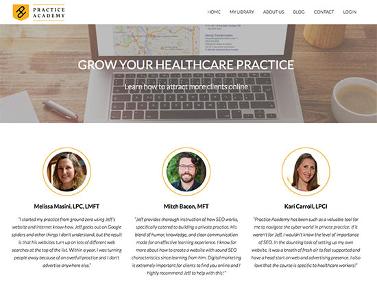 Owned and operated by a mental health therapist (Jeff) and a communications specialist (Kate), the Practice Academy was founded to teach healthcare workers how to ethically and effectively build and grow their private practices or small businesses.