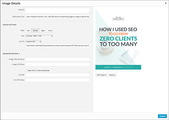 Adding ALT text to images in a blog post may help with SEO