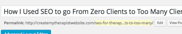 Edit the URL of your blog post to help with SEO