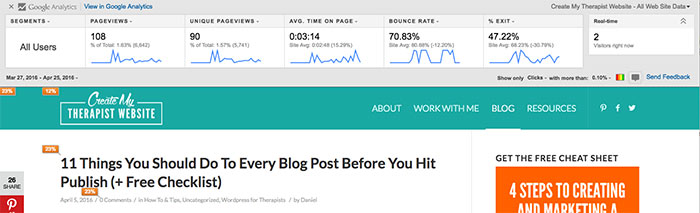 Check your therapy blog performance in Google Analytics
