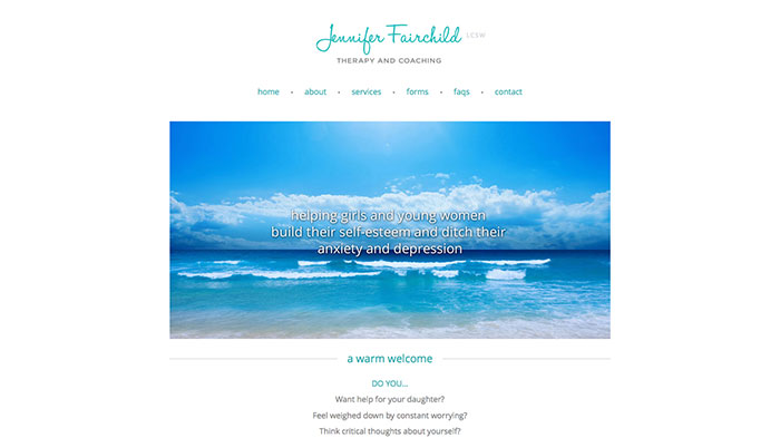 child therapist website design example