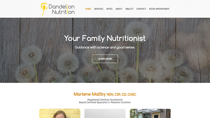 Example of nutritionist private practice website
