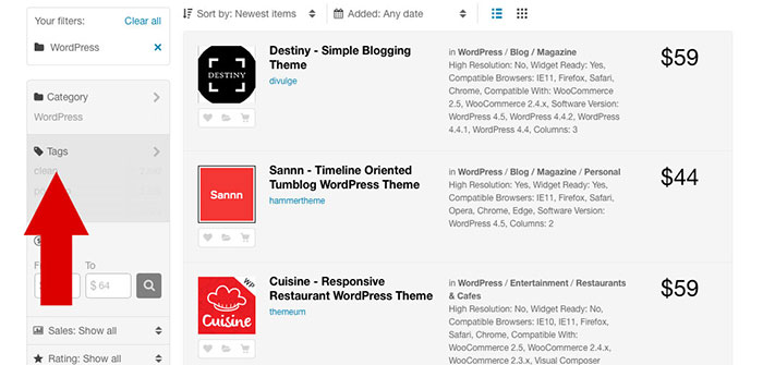 Use the tags to find the perfect WordPress theme