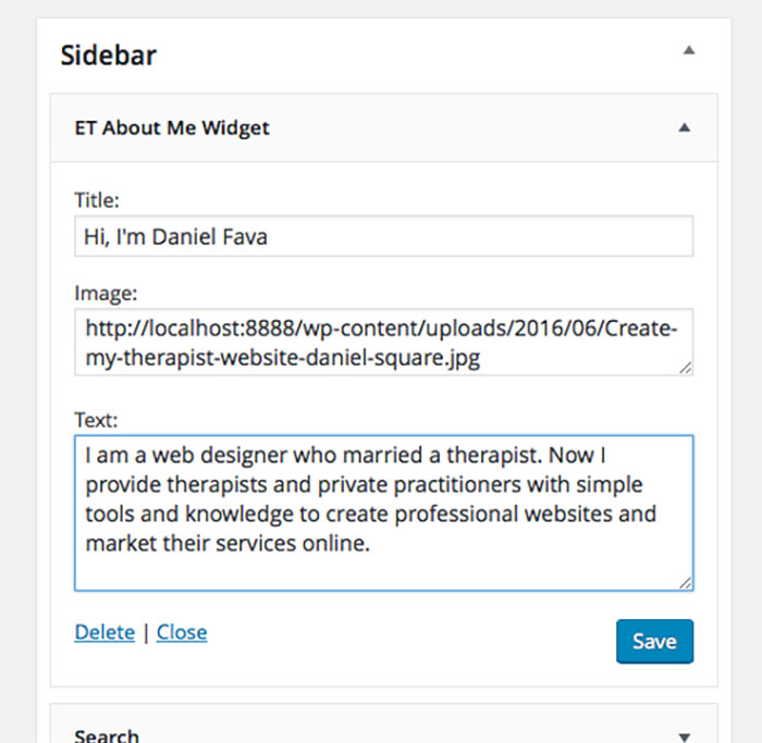 Fill in the info for your private practice website widget