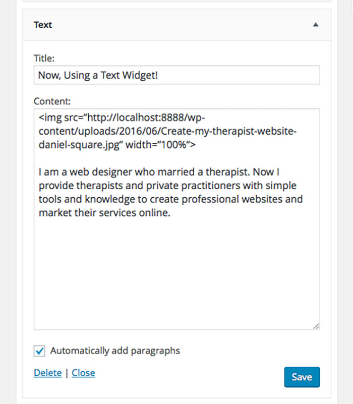 Using text widget for a bio for your therapist website