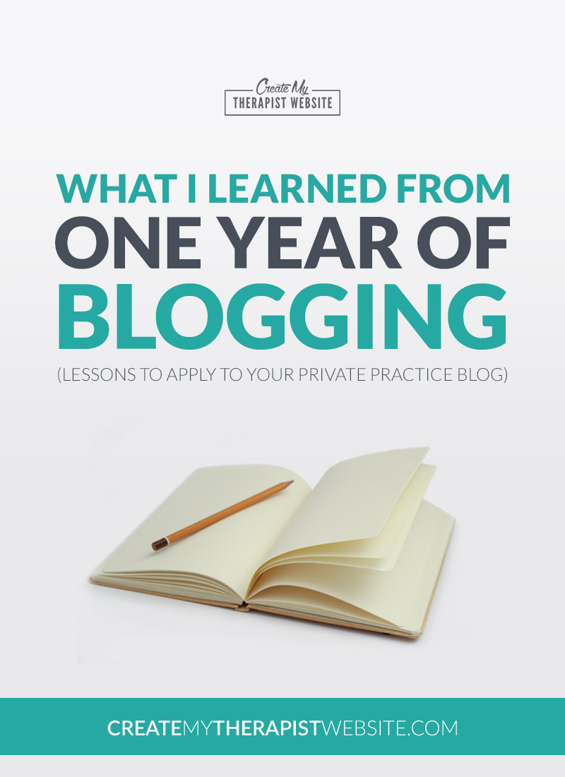 Blogging Tips For Therapists: In this post, I reflect on a year's worth of blogging, what I've learned from it and give you some tips for your own blogging strategy for marketing your private practice. // Create My Therapist Website