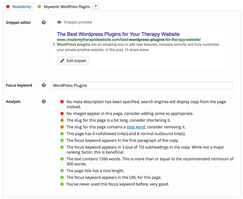 A screenshot of Yoast SEO, one of my favorite WordPress plugins you can use on your private practice website.