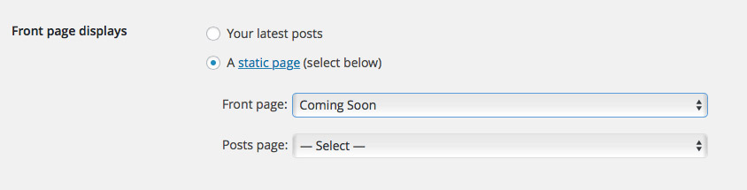 WordPress settings for front page