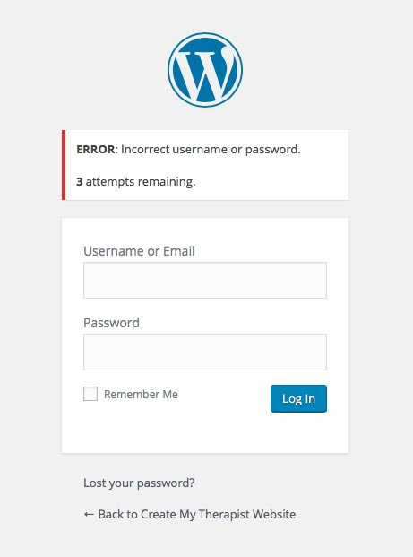 wordpress security psychotherapists limit logins
