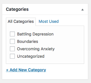 therapy blog categories