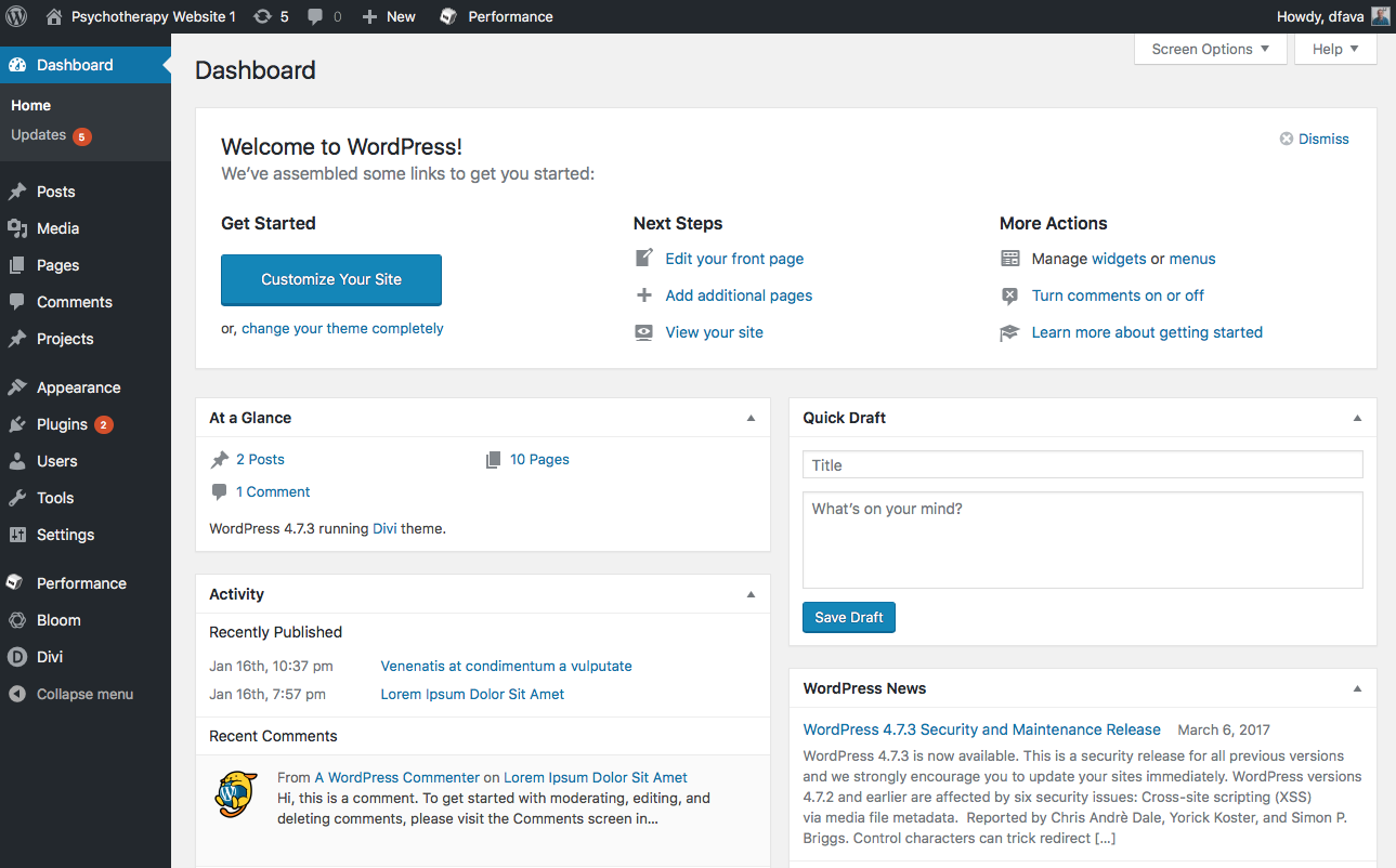 wordpress dashboard websites for therapists