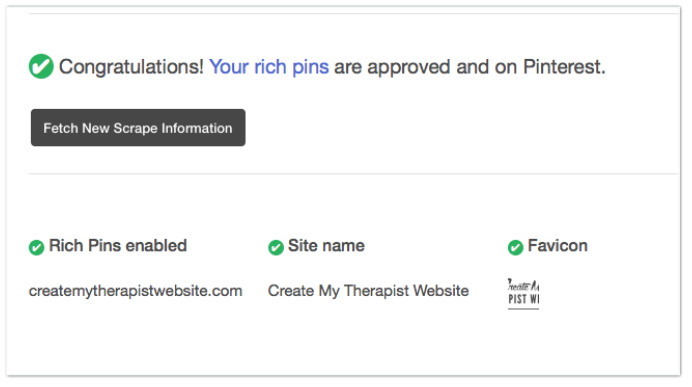 rich pin pinterest validated