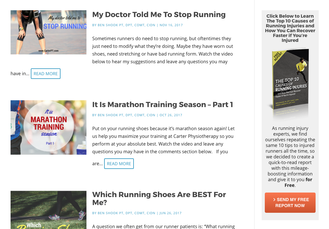 physical therapy website design blog