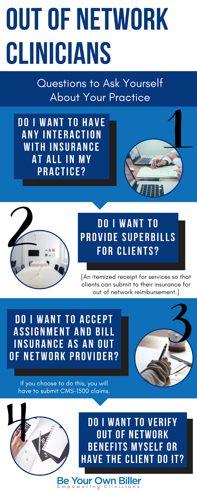 Guest post by Danielle Kepler of beyourownbiller.com I recommend every clinician in-network or out-of-network mention insurance on their website, even if you do not accept any insurance and want nothing to do with it. Let's face it, you can't avoid at least some interaction with it.