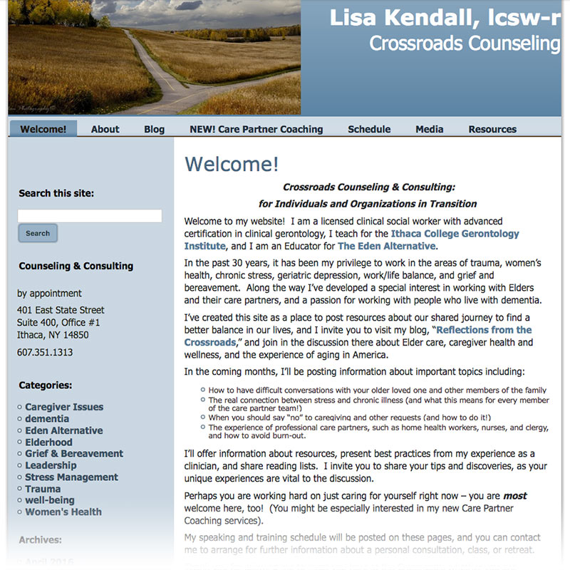 Lisa Kendall therapy website