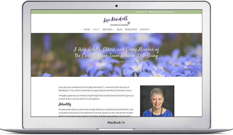 lisa k about page therapy website design