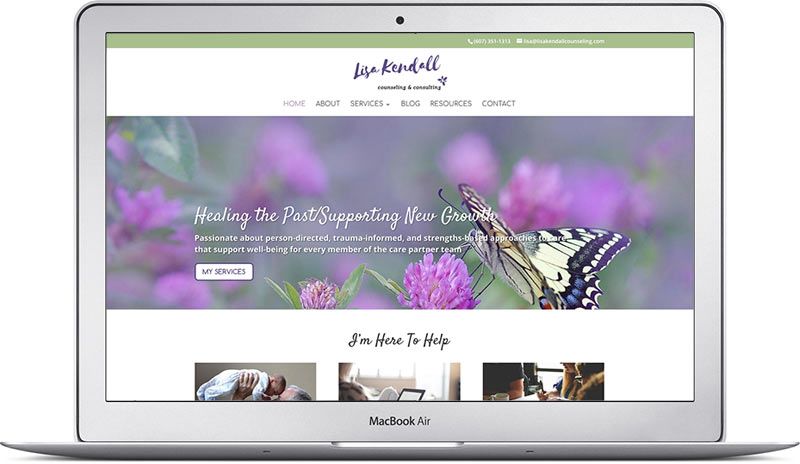 lisa k homepage therapy website design