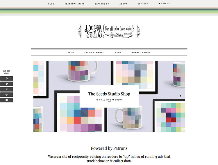 design seeds color palette therapy website