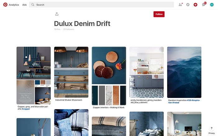 pinterest website mood board