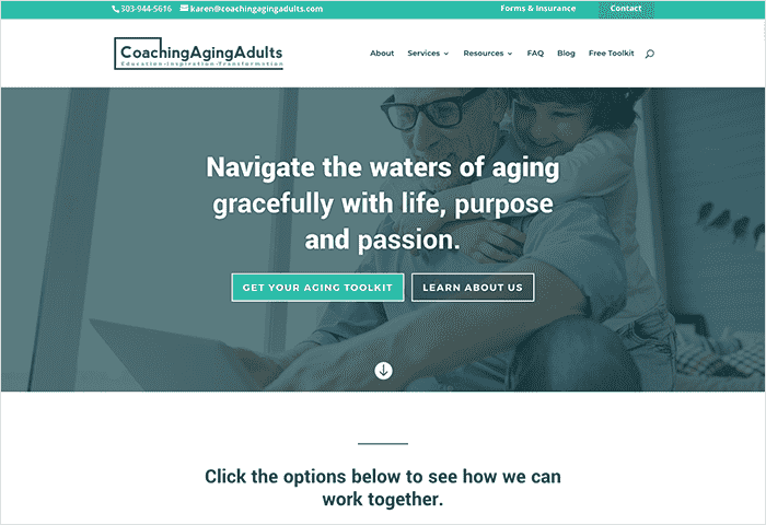 private practice website aging adults