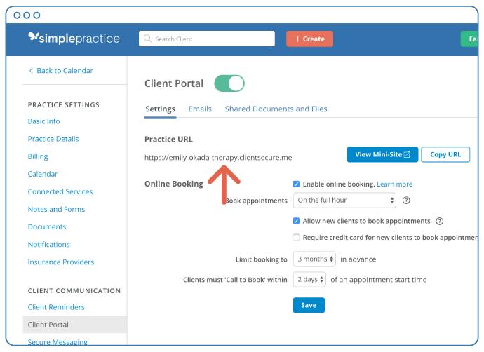simple practice help client portal url